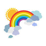 Colored rainbows with clouds and sun. Cartoon illustration on white background. Vector. EPS10 royalty free illustration