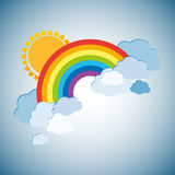 Colored rainbows with clouds and sun. Cartoon illustration on white background. Vector. EPS10 stock illustration
