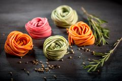 Colored raw pasta Royalty Free Stock Photography