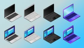 Colored realistic laptops in isometry vector illustration stock illustration