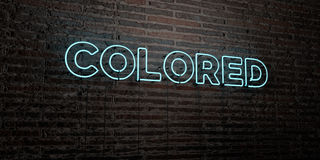 COLORED -Realistic Neon Sign on Brick Wall background - 3D rendered royalty free stock image Royalty Free Stock Photography