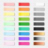 Colored realistic sticky notes isolated. Set of vector paper bookmarks on transparent background. Colored realistic sticky notes isolated. Big collection of red Royalty Free Stock Photo