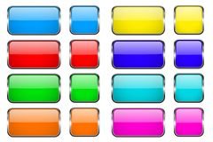 Colored rectangle glass 3d buttons with metal frames. Vector illustration isolated on white background Stock Photos