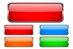 Colored rectangle glass 3d buttons with metal frames. Vector illustration isolated on white background Stock Image