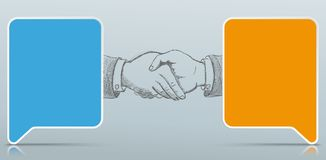 2 Colored Paper Speech Bubbles Handshake. Colored rectangle paper speech bubbles with handshake hands on the gray background royalty free illustration