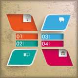 4 Colored Rectangles Infographic 2 Holes PiAd. Infographic vintage background design with brown colors. Eps 10 file vector illustration
