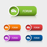 Colored rectangular web buttons forum Royalty Free Stock Images