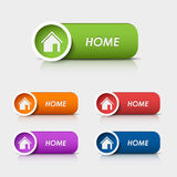 Colored rectangular web buttons home Royalty Free Stock Photos