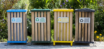 Colored recycle bin Stock Image