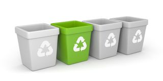 Colored recycling bins Stock Image