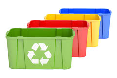 Colored Recycling Bins, 3D Rendering Stock Image