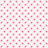 Colored red and pink with hairy circles on white. Seamless stylish geometric background. Modern abstract pattern. Flat textured design. Colored red and pink with Royalty Free Stock Photography