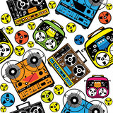 Colored reel tape recorder seamless pattern Stock Images