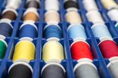 Colored Reels. Macro Photo Of Colored Sewing Reels stock images