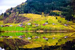 The colored reflection rural landscape in water Royalty Free Stock Images