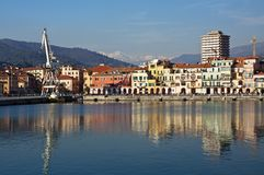 Colored reflections on the water,old port Imperia Royalty Free Stock Images