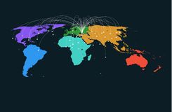 Colored region world map vector background. Stock Image