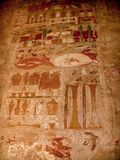 Colored reliefs at the Temple of Hatshepsut at Deir el-Bahari (E Stock Photo
