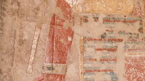 Colored reliefs at the Temple of Hatshepsut at Deir el-Bahari (Egypt) stock footage