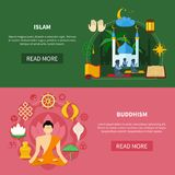 Religions Flat Banner Set Stock Photography