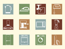 Colored retro icons Stock Images