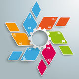 Colored Rhombus Fan White Gear 6 Options PiAd. Infographic design with rhombus set on the grey background. Eps 10  file Royalty Free Stock Photography