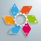 Colored Rhombus Small Fan White Gear 6 Options PiAd. Infographic design with rhombus set on the grey background. Eps 10  file Royalty Free Stock Image