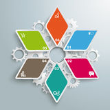 Colored Rhombus Star Industry Production Infographic PiAd. Infographic design with colored rhombus star on the grey background. Eps 10  file Royalty Free Stock Images