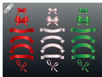 Colored ribbon and bow or banners for your text Stock Photo
