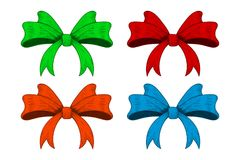 Colored ribbon bows. Outline image, sketch. Vector illustration isolated on white background Stock Photography