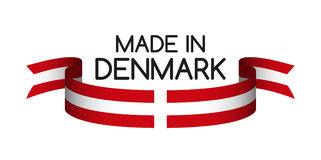 Colored ribbon with the Danish colors, Made in Denmark Royalty Free Stock Photo