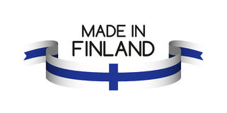 Colored ribbon with the Finnish colors, Made in Finland Royalty Free Stock Photos