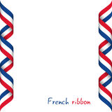 Colored ribbon with the French tricolor vector illustration