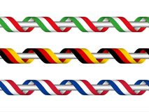 Colored ribbon with the Italian , German and French tricolor. Symbol of the Italian, German and Frech flag isolated on white background, sign Made in Italy Stock Image