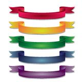 Colored ribbon. Ribbons Collection, Isolated On White Background, Vector Illustration Stock Images