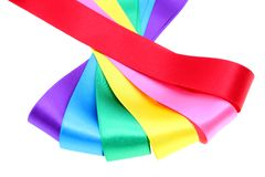 Colored ribbons. On white background Stock Images