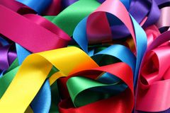 Colored ribbons. Laid out in a mess royalty free stock photo