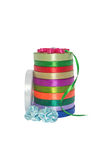 Colored ribbons. Column colored ribbons for needlework. Isolated Stock Photography
