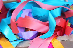 Colored ribbons. Background of multicolored ribbons. soft focus Stock Images