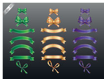 Colored ribbons and bows. Set of colored ribbon and bow or banners for your text. Vector illustration and design elements Stock Photography