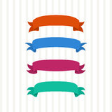 Colored ribbons on a light background. Orange, blue, pink and green ribbons, vector illustration Stock Images