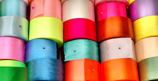Colored ribbons for needlework Stock Photo
