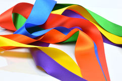 Colored ribbons, red, yellow, blue, green, orange, purple royalty free stock photo