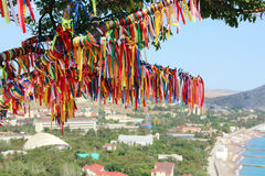Colored ribbons on the wish tree on a cliff. Colored ribbons on the tree making a wish on a cliff against the sea and the city Stock Photography