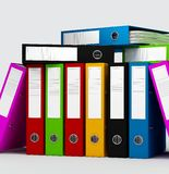 Colored ring binders. On white background -digital artwork Stock Photography