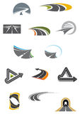 Colored road icons isolated on white Royalty Free Stock Photos