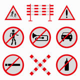 Colored road signs collection of beautiful symbols Stock Photography