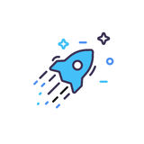 Colored rocket ship and stars icon in flat design. Simple spaceship icon isolated on white background. Vector. Colored rocket ship icon in flat design. Simple Royalty Free Stock Photos