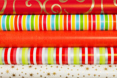 Colored rolled paper for wrapping gifts Royalty Free Stock Photos