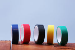 Colored rolls of scotch tape Stock Photo